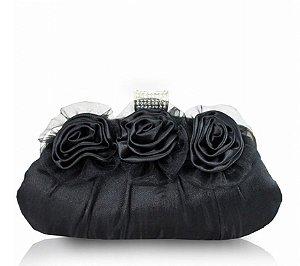 Bolsa De Festa Três Flores Aht38051 - Jacki Design preto