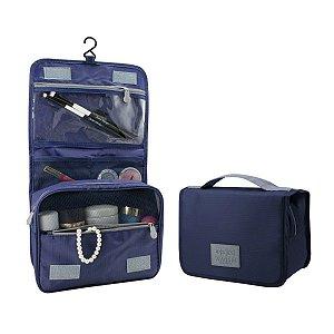 Necessaire de viagem em nylon amassado com gancho Azul Jacki Design