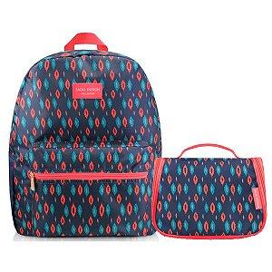 Conj de Mochila Com bolsinha City azul e rosa  Jacki Design
