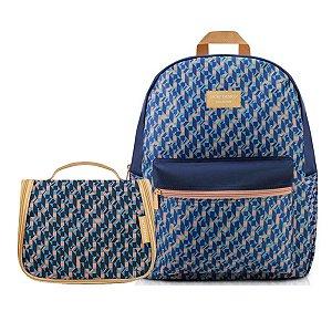 Conjunto de Mochila Com Necessaire City azul  Jacki Design
