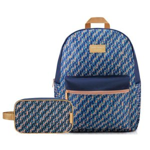 kit de Mochila de costa Com estojo escolar azul e bege City
