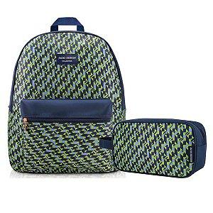 kit de Mochila de costa Com estojo escolar azul verde City