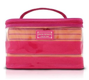 Kit com 2 Necessaires Listradas rosa Felicita Jacki Design