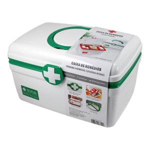 Caixa para remedios grande Primeiros socorros Verde
