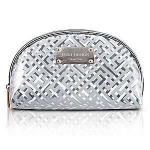 Bolsinha Necessaire Meia Lua prata Diamantes Jacki Design