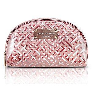 Bolsinha Necessaire Meia Lua Rosa Diamantes Jacki Design