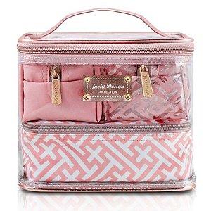 Necessaires com 4 necessaires Diamantes Jacki Design rosa