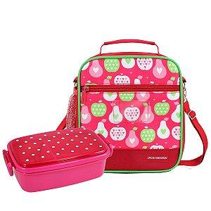 Lancheira escolar Vermelha + Marmita rosa Kids Jacki Design