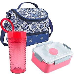 Bolsa térmica dupla azul com marmita e copo rosas