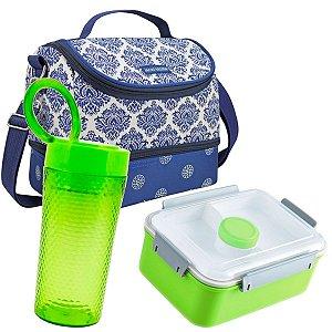 Bolsa térmica dupla azul com marmita e copo verdes