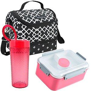 Bolsa térmica dupla preta com marmita e copo rosas