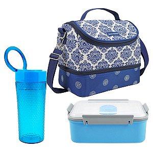 Bolsa térmica dupla azul com marmita e copo azuis