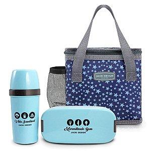 Kit bolsa térmica com garrafa e marmita estrelas azuis
