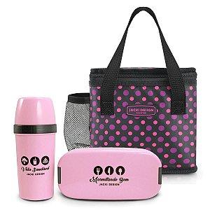 Kit bolsa térmica com garrafa e marmita bolinhas rosa-preto