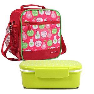 Lancheira escolar Vermelha Marmita look verde Jacki Design