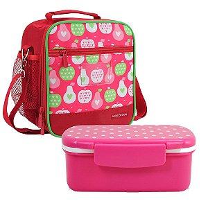 Lancheira escolar Vermelha Marmita look rosa Jacki Design