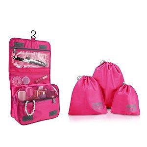 Kit organizados e necessaire de gancho Jacki Design Pink