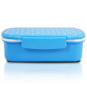 Marmita lancheira 450 ml com divisória azul Jacki Design