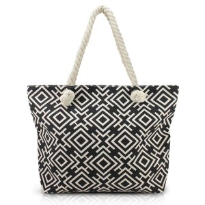 Bolsa de praia alça em corda preto geométrica Jacki Design