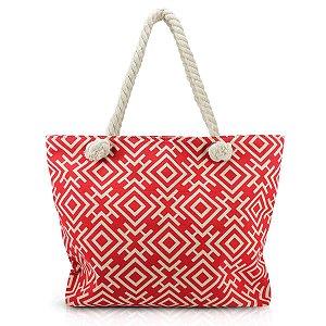 Bolsa de praia  lona com alça em corda vermelho Jacki Design