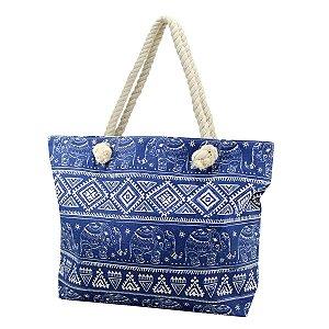 Bolsa de Praia em Lona Azul com Alça em Corda Jacki Design
