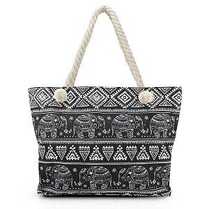 Bolsa de praia em lona com alça em corda preta Jacki Design