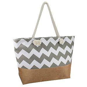 Bolsa de praia lona cinza/ marrom alça corda  Jacki design