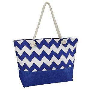 Bolsa de praia alça em corda azul geométrica Jacki Design