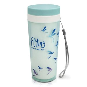 Copo com Tampa 300 ml Flying Azul Jacki Design