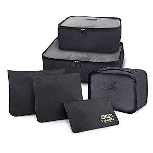 Conjunto de organizadores de malas com 6 peças preto