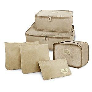 Conjunto de organizadores de malas com 6 peças bege