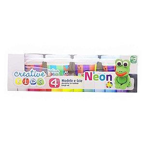 Massinhas de Modelar Neon Creative Kids 4 Potes Batiki