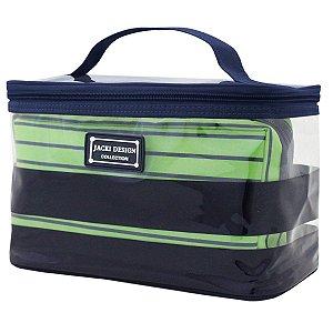 Kit com 2 Necessaires Listradas verde Felicita Jacki Design