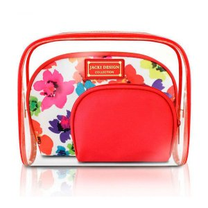 Kit de Necessaire de 3 Peças Aquarela Jacki Design vermelho