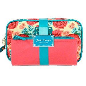 Kit Necessaire 2 Em 1 Floral Miss Cherie azul Jacki Design