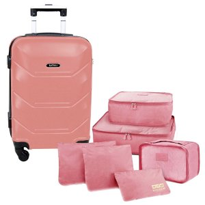 Mala de bordo rodas 360 Siena Batiki + 6 organizadores rosa
