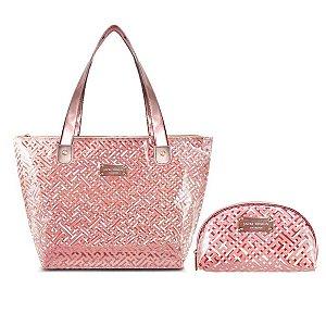 Bolsa praia Transparente rosa Necessaire Meia Lua diamante