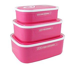 Conjunto potes 3 peças para alimentos Pink Jacki Design