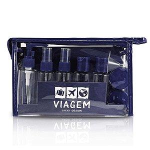 kit necessaire e frascos para viagem Jacki Design azul 10pcs
