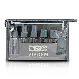 kit necessaire frascos para viagem Jacki Design cinza 10pcs