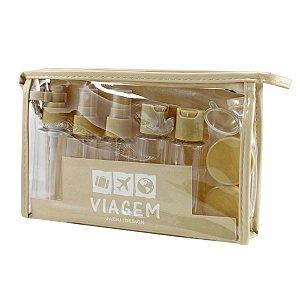 kit necessaire e frascos para viagem Jacki Design bege 10pcs