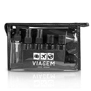 kit necessaire frascos para viagem Jacki Design preto 10pcs