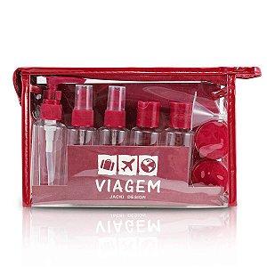 kit necessaire frascos para viagem Jacki Design vinho 10pcs
