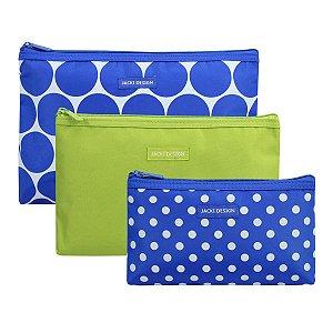 Kit com 3 Necessaires Azul com bolas Dots Jacki Design