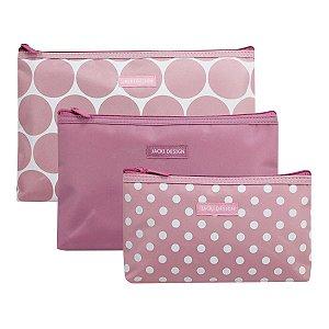Kit com 3 Necessaires Rosa com Bolas Dots Jacki Design