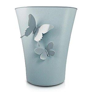 Cesto de Lixo G Cozy Azul Borboleta 3D Jacki Design