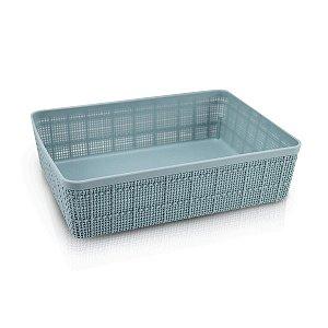 Mini Cesto Organizador Raso Retangular  Azul Jacki Design