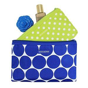 Kit com 2 necessaires de bolsa Azul Dots Jacki Design