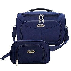 Bolsa de Viagem com Alça Carona e Necessaire Azul Cruzeiro