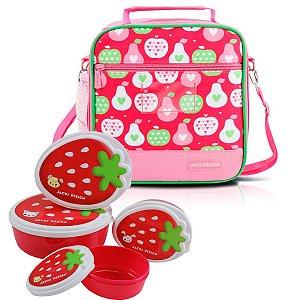 Lancheira escolar térmica rosa Kids com potes de frutas
